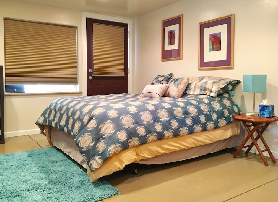 Bed and entry door