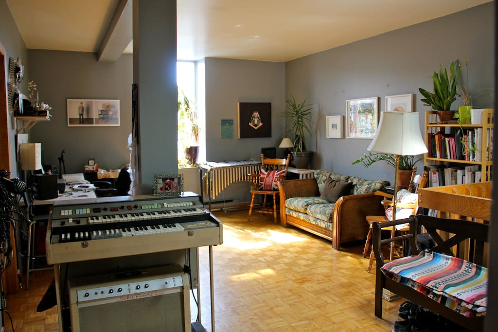 The living room is full of entertainment: instruments, books and board games