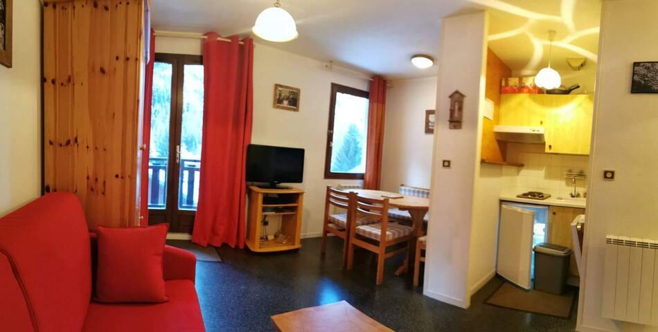 Charmant studio 4 personnes centre Brevières