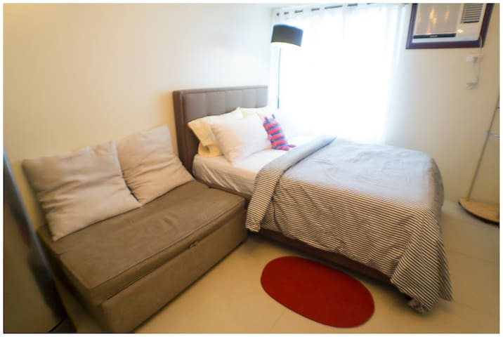 1 sofa bed and 1 full double bed
