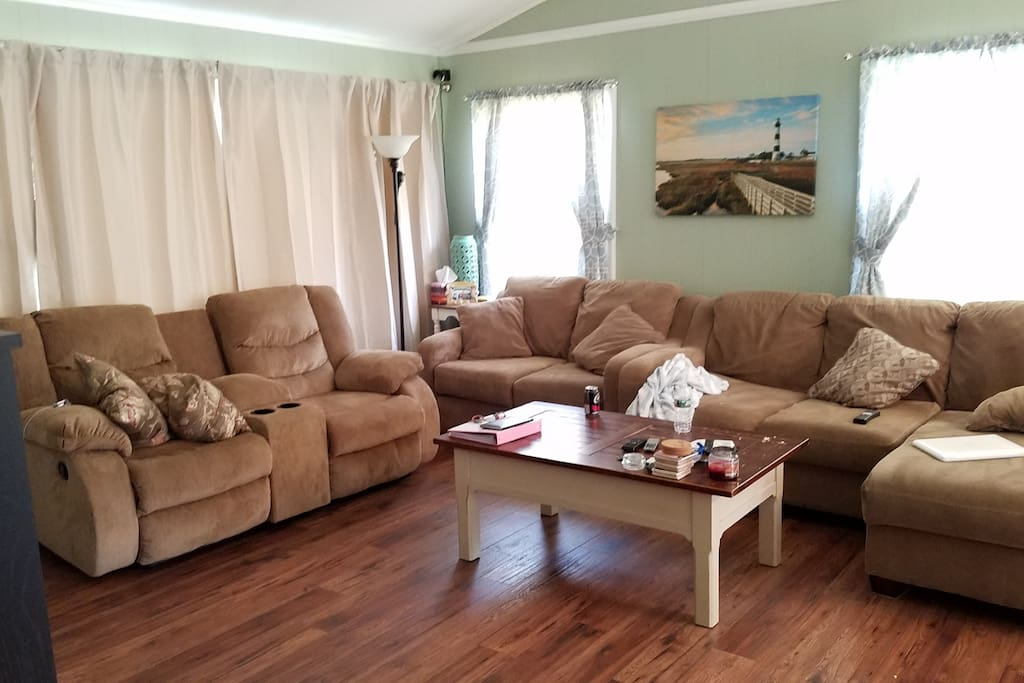 """Brand new living room furniture, full xfinity x1 subscription on a 55"""" flatscreen with surround sound!"""