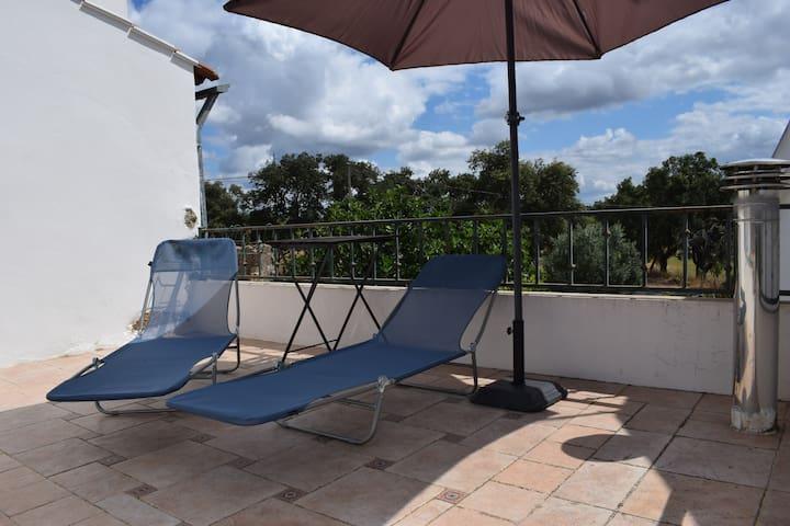 Terraço com espreguiçadeiras/Terrace with sun loungers and umbrella