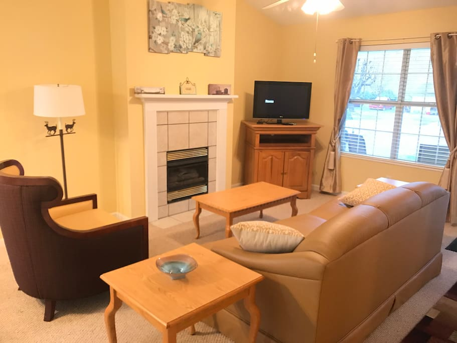 Spacious living room with Netflix, DVD player, fire place, and flat screen TV.