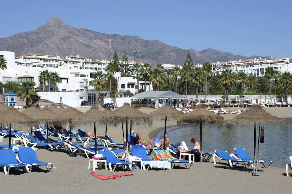 Club Playas del Duque Beach front, Blue Flag sandy beaches in Puerto Banus