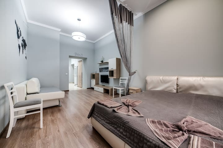 Bright white-gray apartment - Львів - Daire