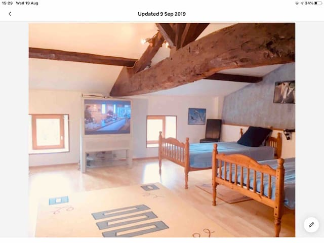 Bedroom 1. 1 doublebed, 2 single beds SKY TV, Electric skylight, hair dryer, personal aircon unit