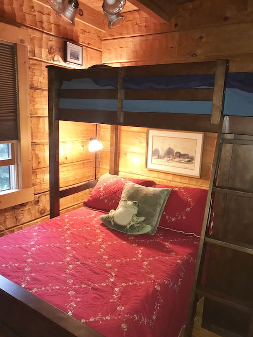 Bedroom with bunk bed. The bottom bed is a Full size bed.