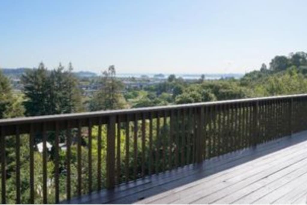 Back Deck with a coastal view