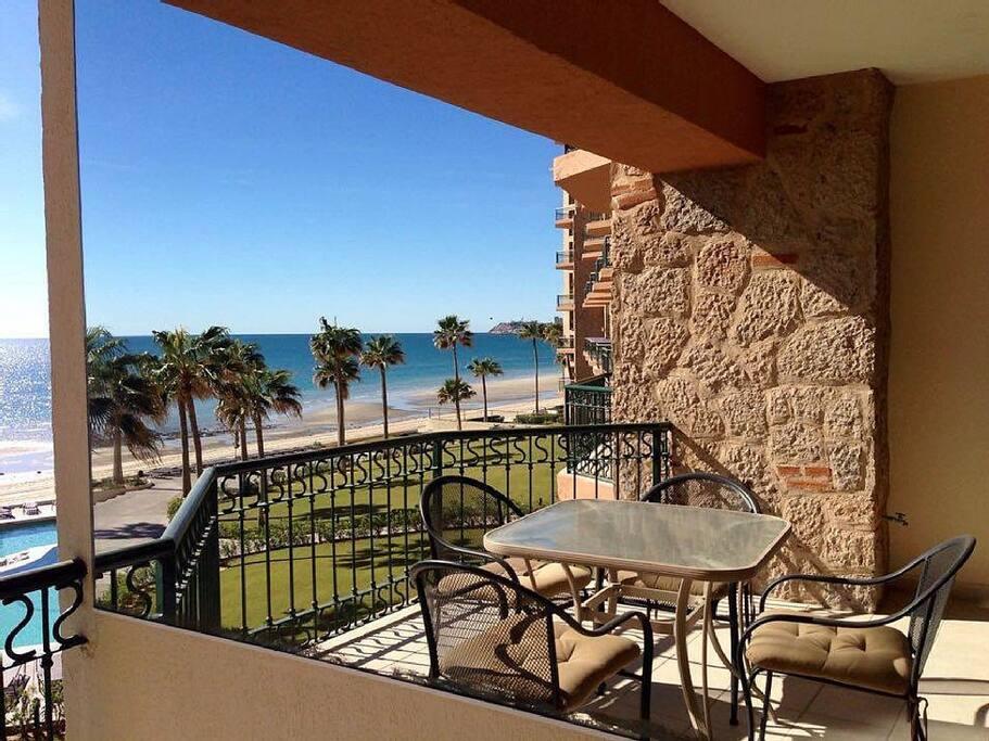 balcony overlooking sea of Cortez and pool area