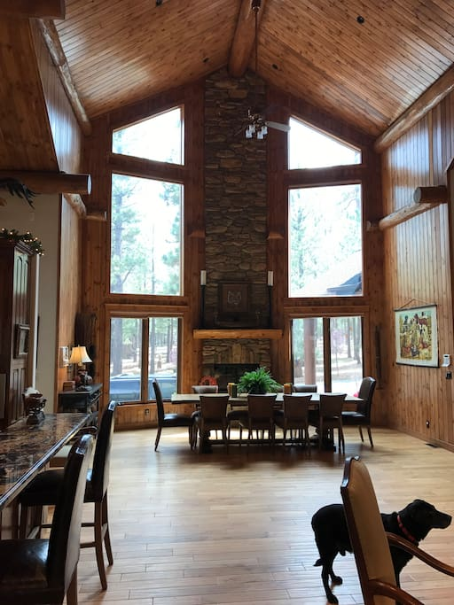Dining Area with Wood Burning Fireplace