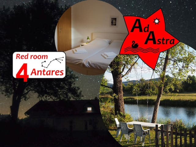 Red room Antares @ Ad Astra House by river Gacka