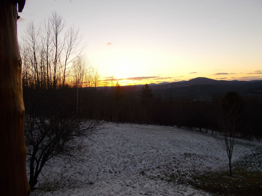 sun setting over Vermont mountains