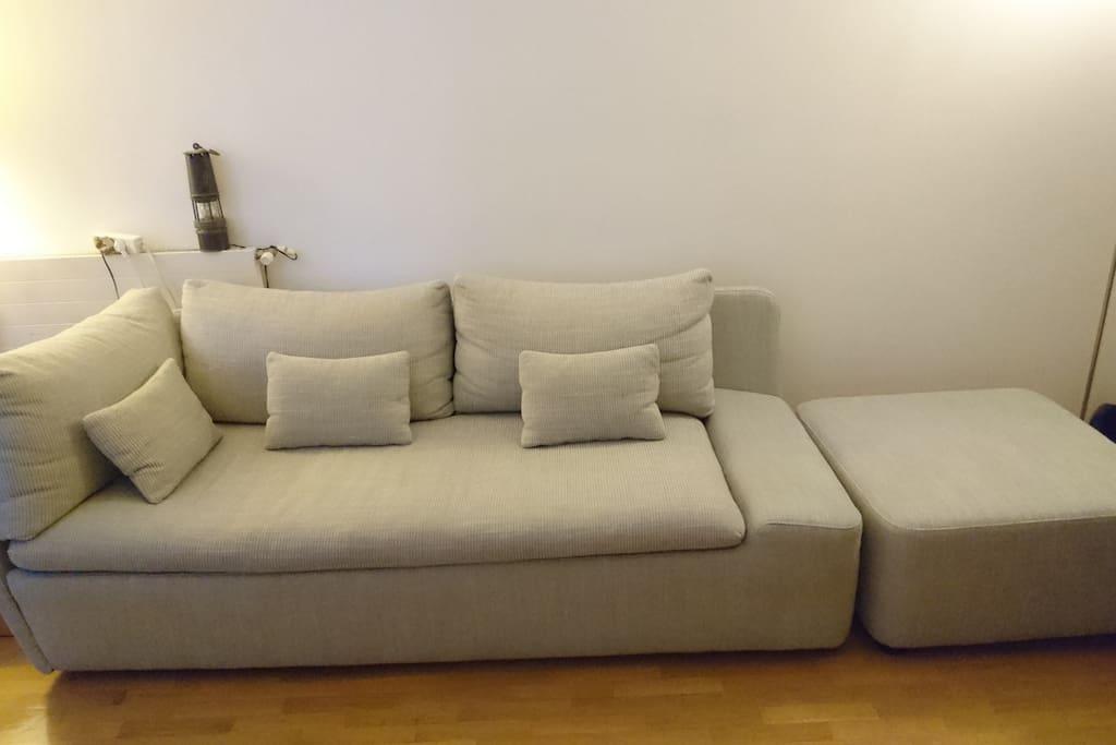 The sofa in the livingroom (where you'll sleep)