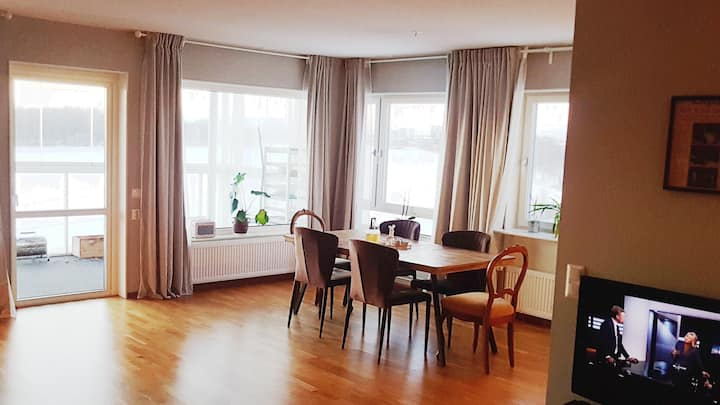 Lovely room in modern flat with river view