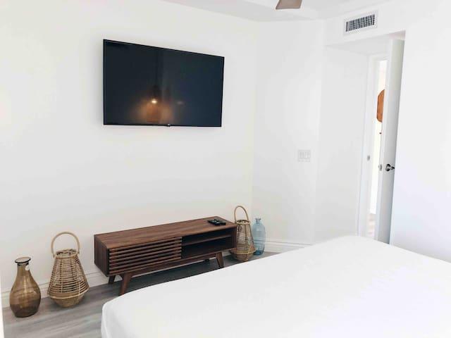 Smart TV in bedroom .