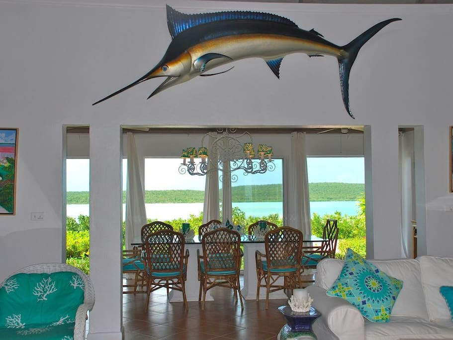Enjoy Every Meal Overlooking The Indigo Colored Waters of the Bahamas