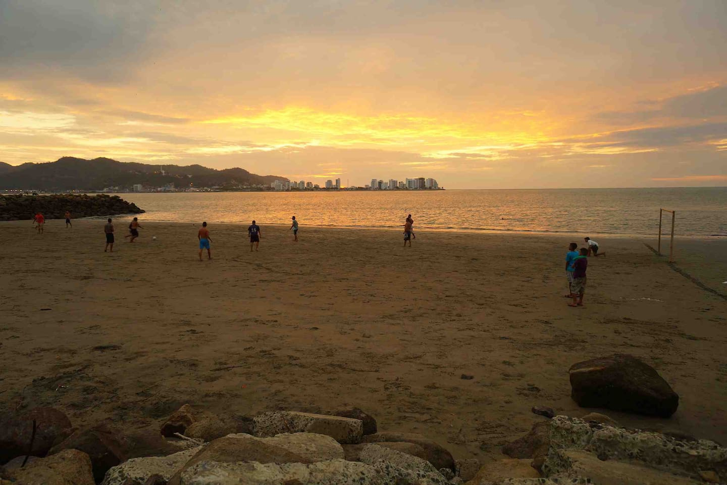 Pick up soccer game with view to Bahia from San Vicente