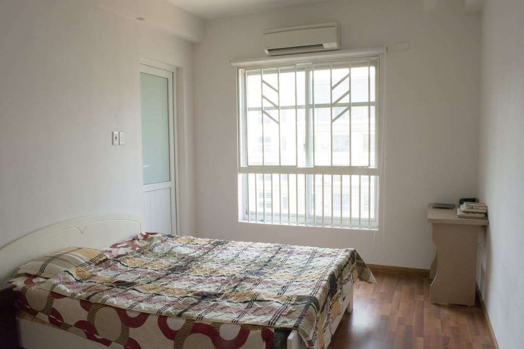 The master bedroom also has air-conditioning, a study desk and an en-suite bathroom.