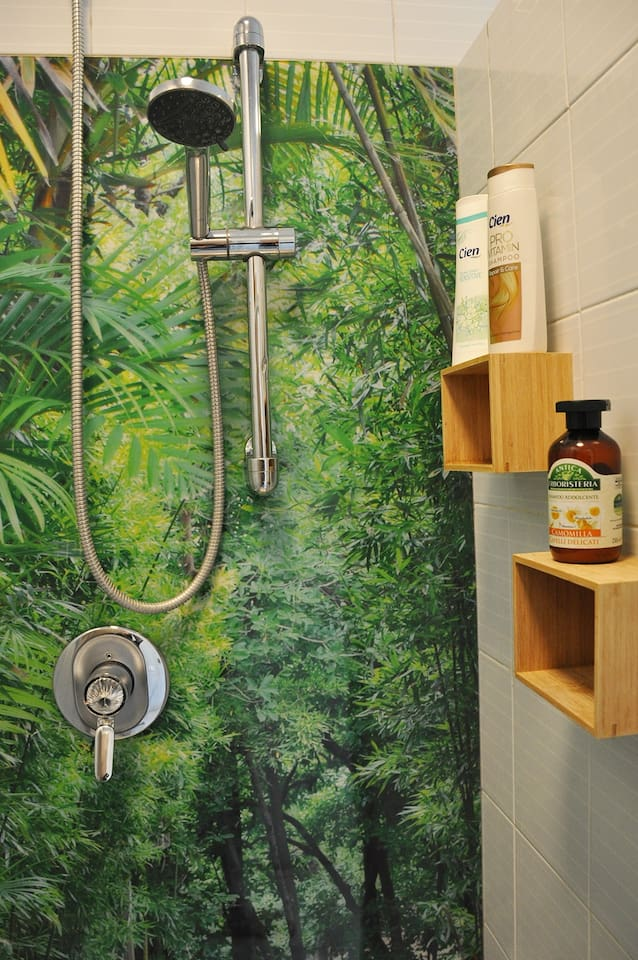 Shower with  decorative wall.