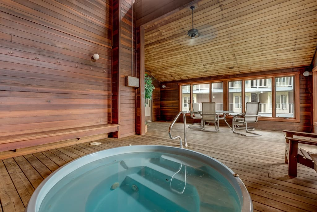 Hit the shared indoor hot tub - your muscles will thank you!