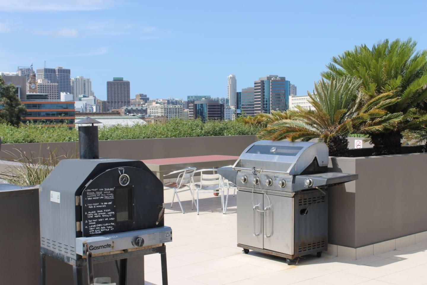 Rooftop with bbq and pizza oven