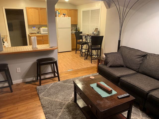 Inexpensive room in house near freeway.
