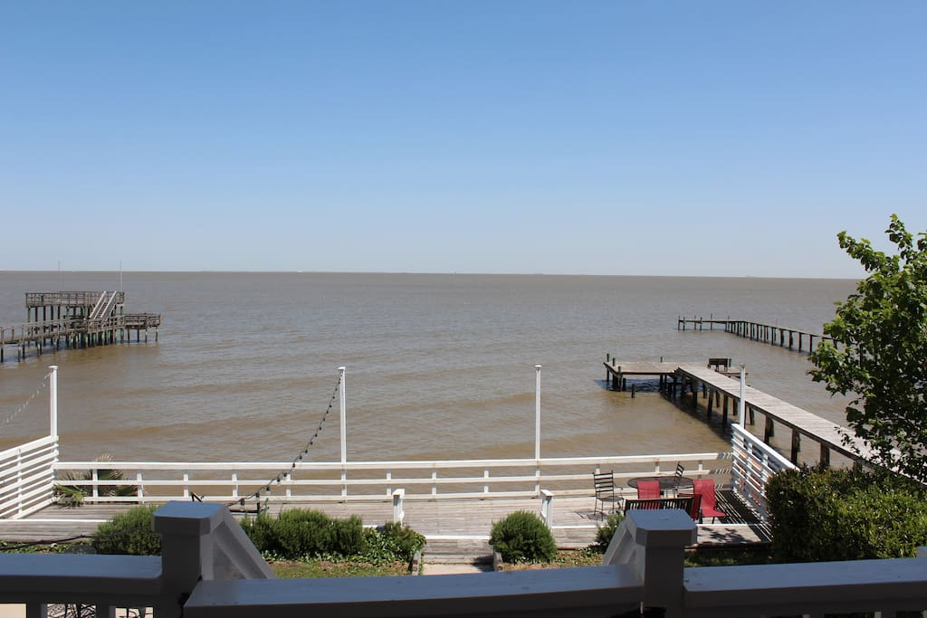 A view of Galveston Bay from the second floor balcony.