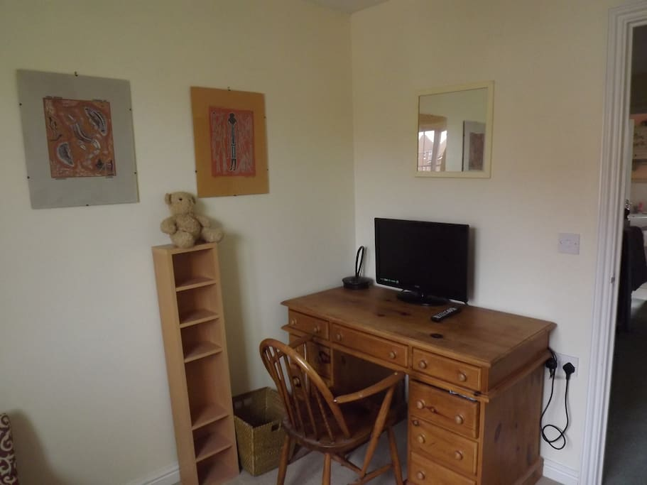 Desk and television in the sitting room