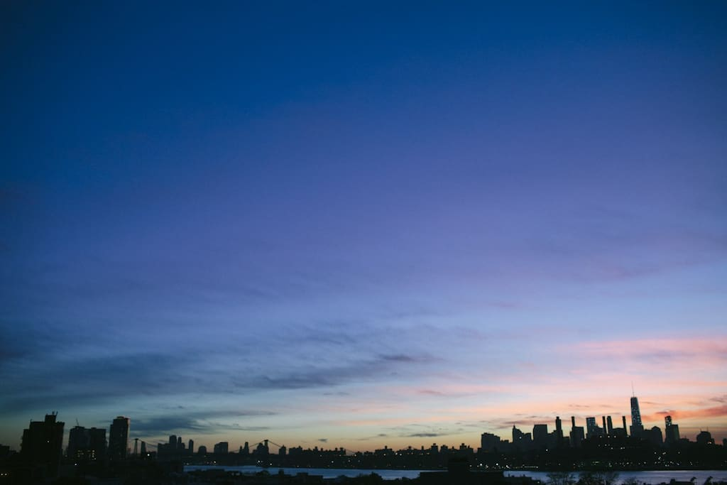 sunset view of lower manhattan from our roof deck.
