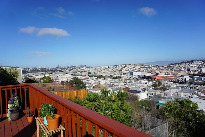 View of the city from the deck on a sunny day!