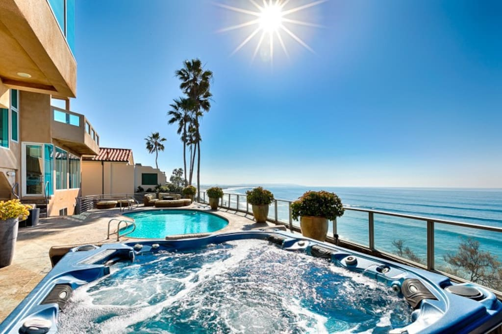 Jacuzzi, pool, and firepit with ocean views galore!