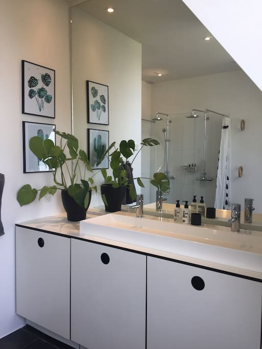 Bathroom with double shower and double zink.