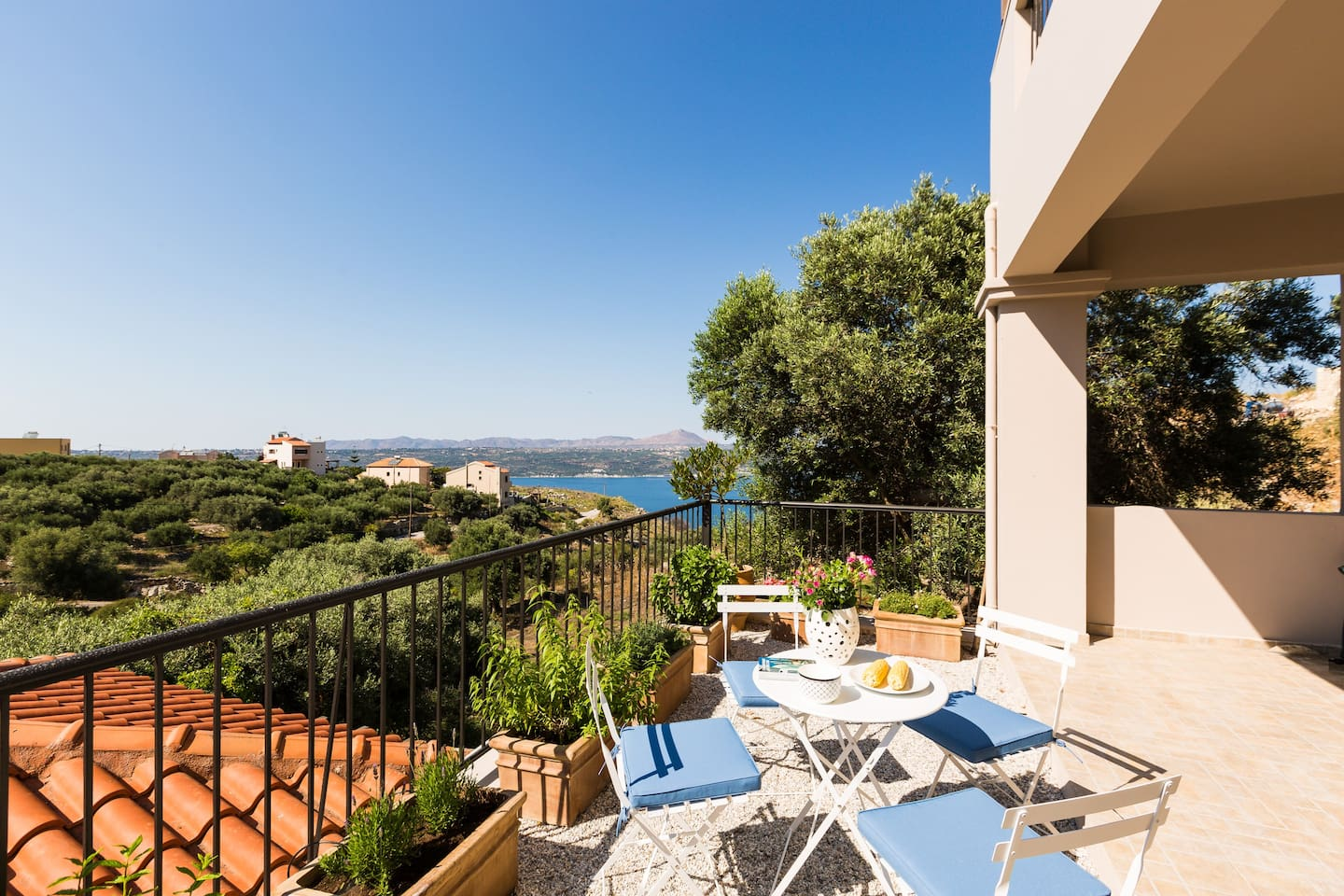 Terrace in front of the living room with views to Souda Bay