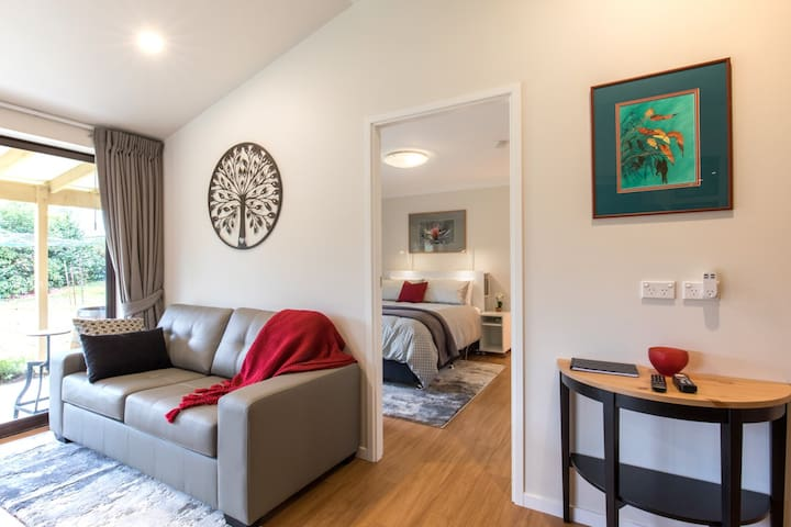 Bedroom is separate to the living area. The sofa bed provides extra bedding if needed