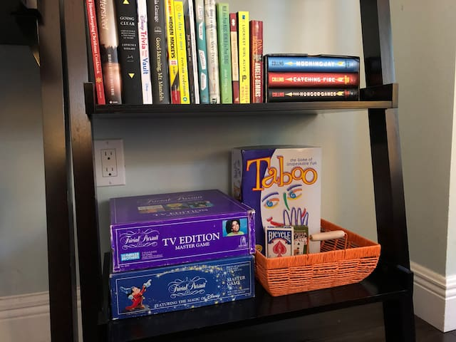 Take a break and play some games or grab a book from our take-a-book, leave-a-book library.