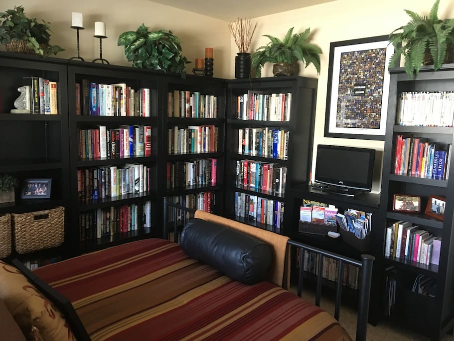 Alternative view of guest bedroom.  Help yourself to books, HDTV and DVDs during your stay.