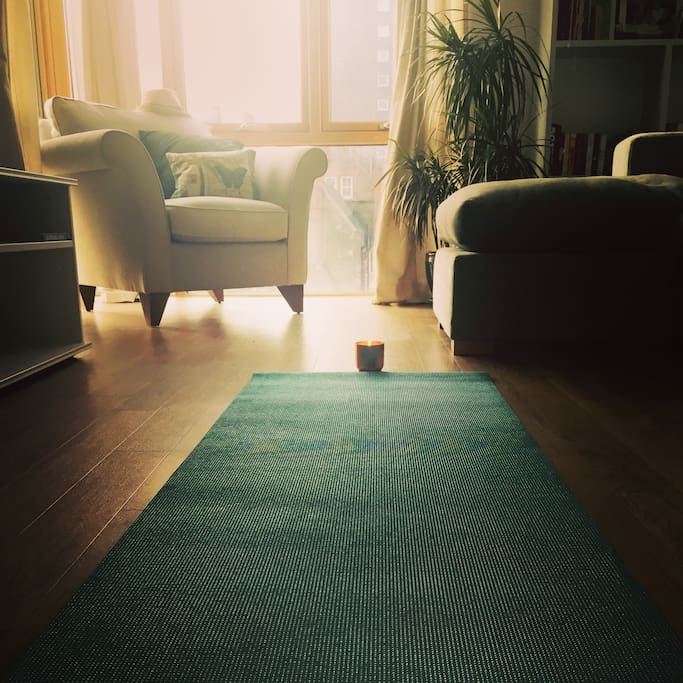 Lots of space to do yoga in the living room!