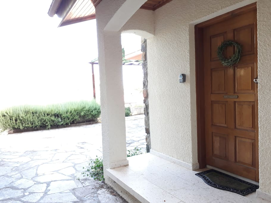Entrance door and rosemary in the background