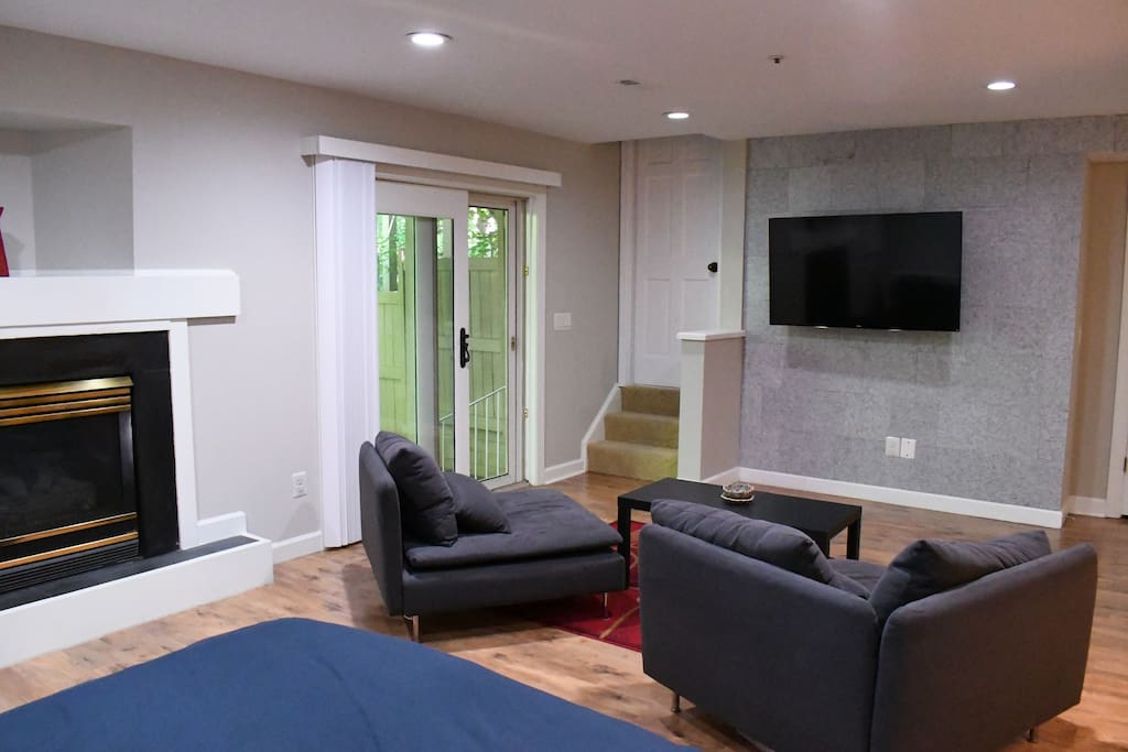 """55"""" Samsung TV and sitting area"""