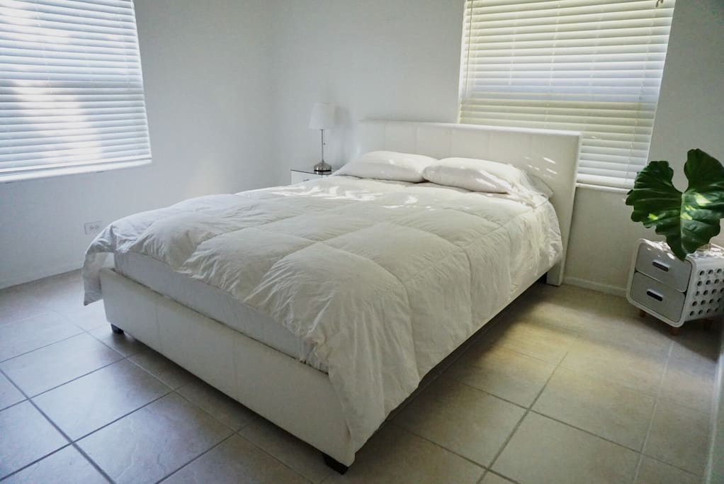 Queen Size bed for 2. There are 2 windows in this room for natural lighting.
