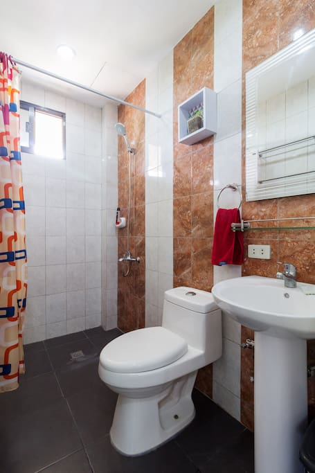 Refresh yourself in your own bathroom with shower and toilet