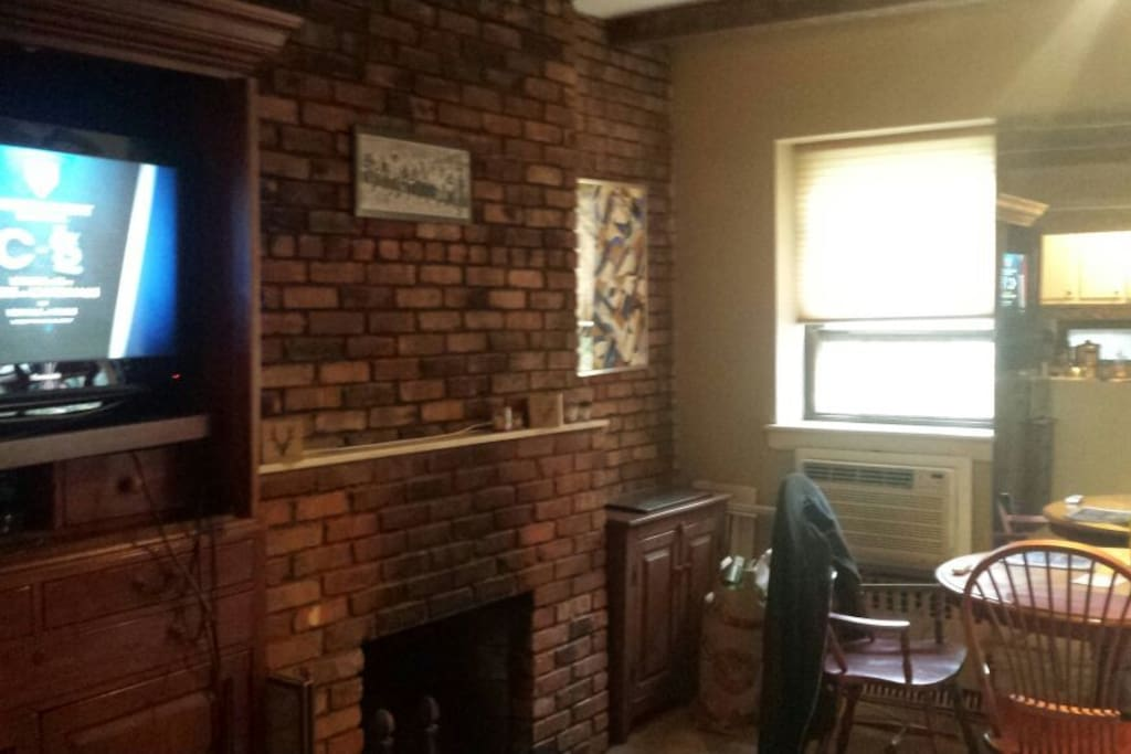 Brick wall with fireplace