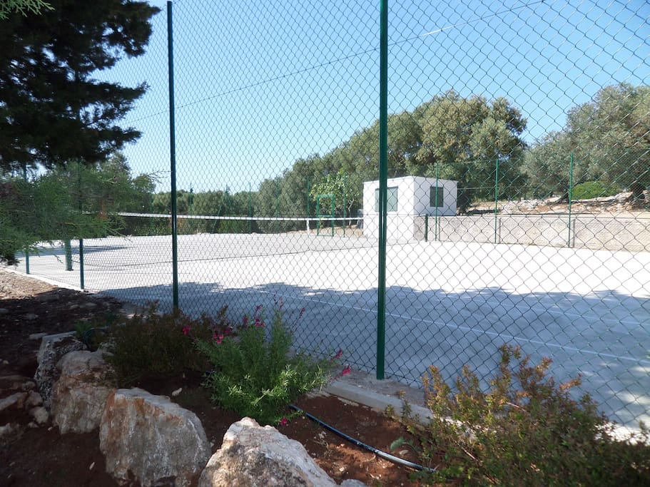 ... the full-sized tennis court and then...