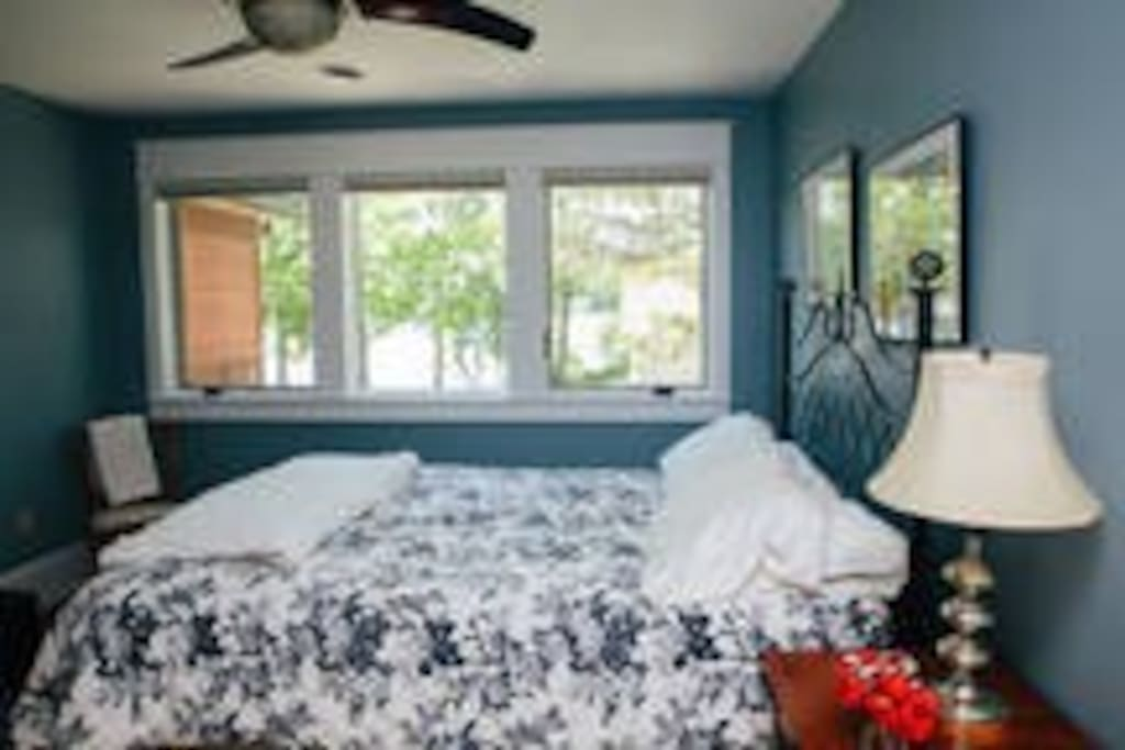 Your wake-up view of the water each morning. Bed for 2 bedrooms are queen, room is 12' x 14'.