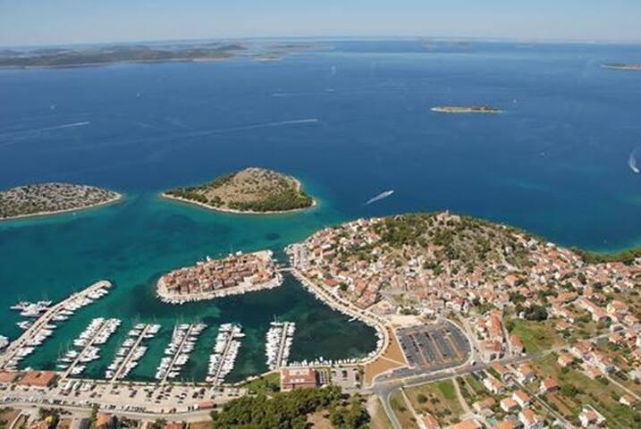 Tribunj. House is on the little island.