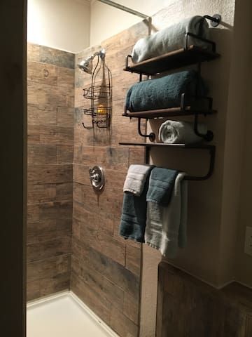 Shower with plush towels.