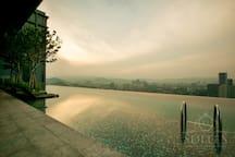 Infinity pool, sunrise