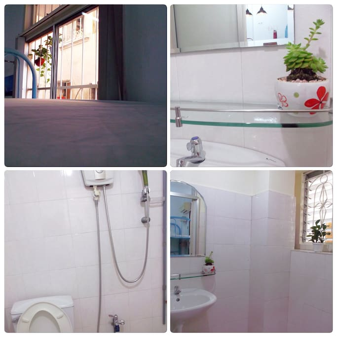 The bathroom includes shower facilities hot and cold, slippers and towels.