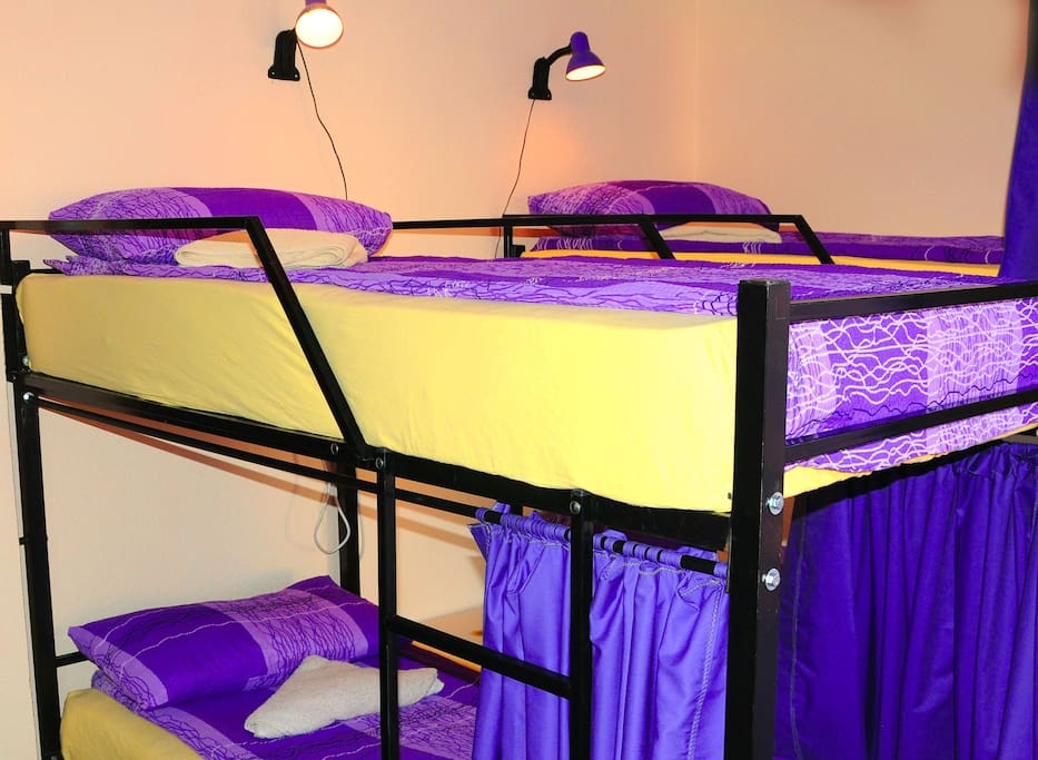 bed curtains, reading lights, AC power plugs