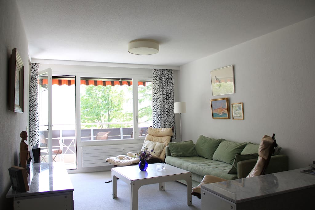 Livingroom, view from the kitchen towards the balcony